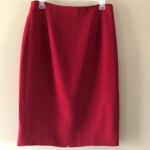 Ann Taylor Red Wool Blend Pencil Skirt Size 10